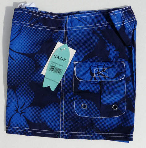 Body Surf by Basix Dark Blue Hibiscus Board Shorts