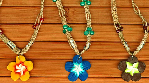 Charming Shark Braided and Beaded Fimo Flower Necklace