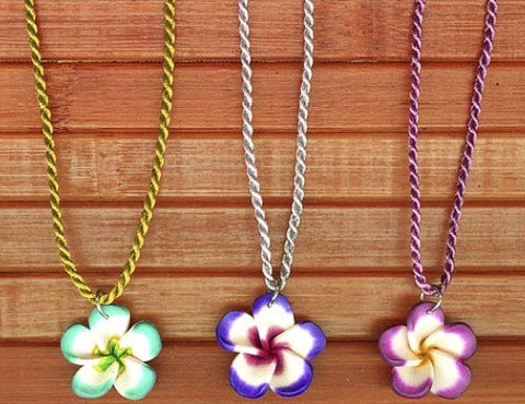 Charming Shark Fimo Flower on Colored String Necklace