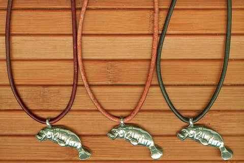 Charming Shark Necklace with Pewter Manatee Pendant