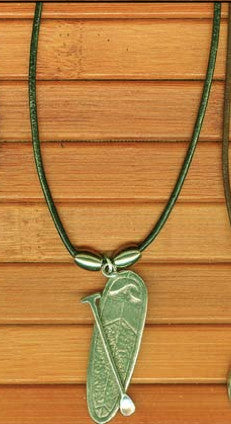 Charming Shark Pewter Stand Up Paddleboard Necklace