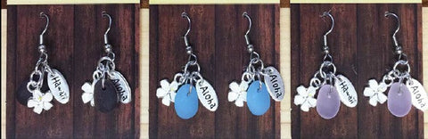 "Charming Shark Earrings with ""Seaglass"" & Charms"
