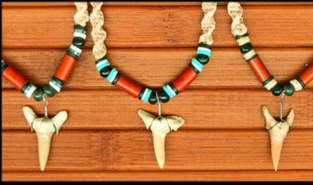 Charming Shark Macrame Shark's Tooth Necklace.