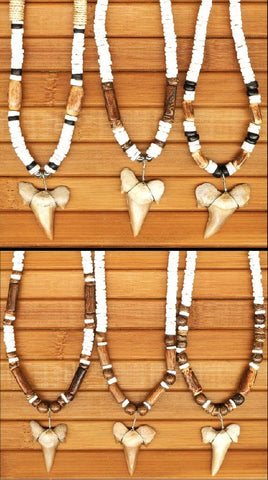 Charming Shark Shark Tooth with White Puka and Wood
