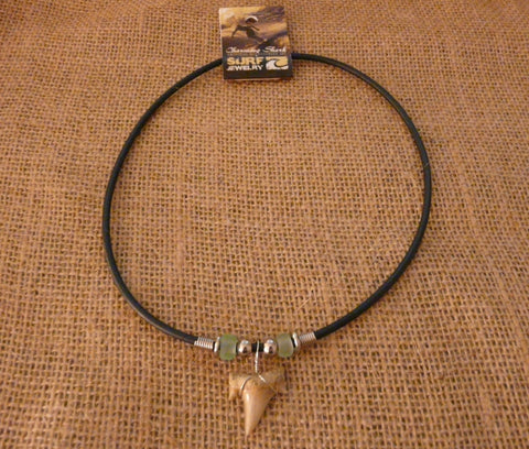 Charming Shark Surf Jewelry Shark Tooth and Glass
