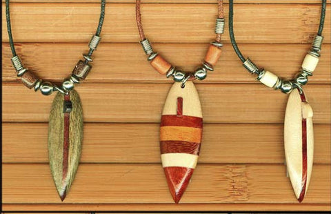 Charming Shark Wood Surfboard Necklace