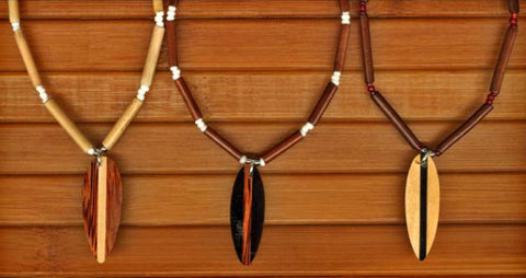 Charming Shark Surfboard & Wood Bead Necklace