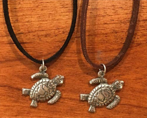 Charming Shark Turtle Necklace with Suede Cord