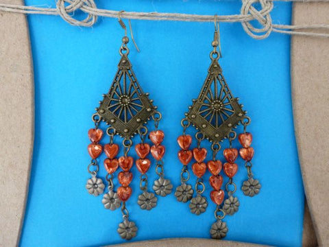 Pierced Shell Earrings - Orange