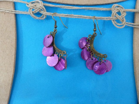 Pierced Shell Earrings Purple