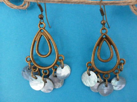 Pierced Shell Earrings - Blue