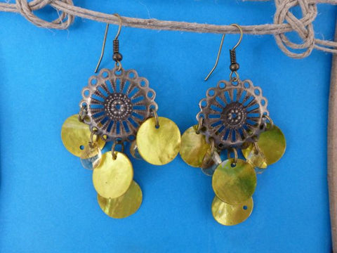 Pierced Shell Earrings - Yellow-Lime