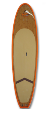 "NuWave 11'0"" Natural Bamboo Orange Rail Stand Up Paddle Board"