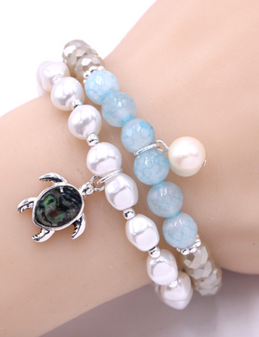 Sea Turtle Stackable Bracelet - Light Blue
