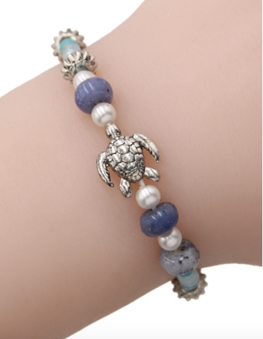 Sea Turtle Bead Stretch Bracelet in Blue
