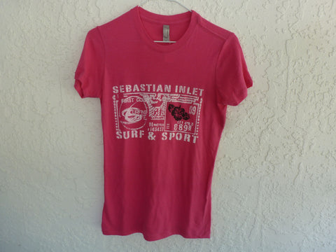 Sebastian Inlet Surf & Sport Shop Boyfriend Tee in Bright Pink