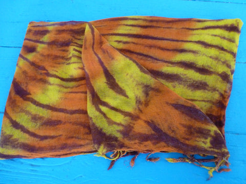 World Tie Die Gauze Scarf in Orange, Yellow, Brown