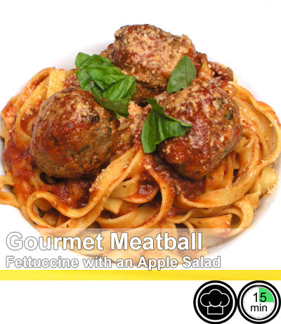 2/4 Person Meal Kit - Gold Label - Gourmet Meat Ball Pasta with Fresh Handmade Fettucine and Apple Salad