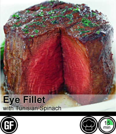 1/2/3/4 Person Meal Kit - Black Label - Gippsland Pure Grass Fed Eye Fillet with Tunisian Spinach (GF)