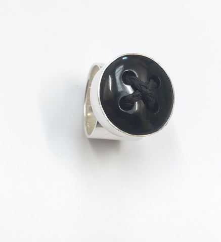 black argillite button ring (med)