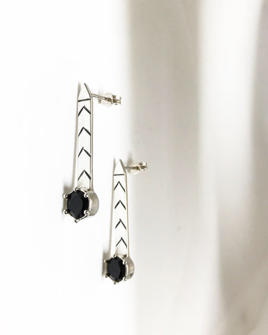 direction earrings - black onyx
