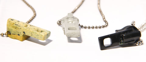 Stone Zipper pendants (hand carved from stone)