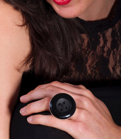 black argilite button ring