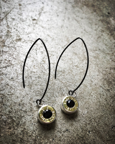 black onyx bush bling charm earrings