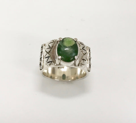 soar ring - dark green/ light inclusions