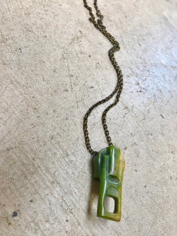 pounamu zipper pendant - large