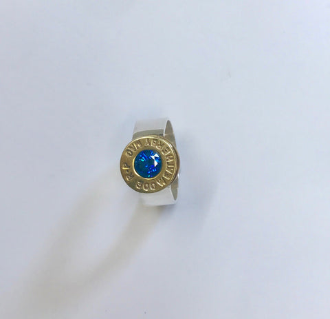 lady hunter drop set ring - swiss blue
