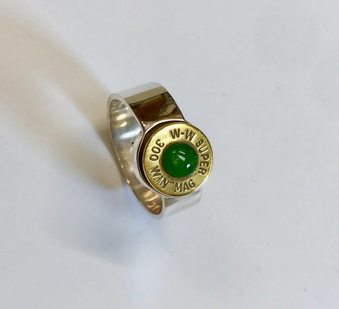 hunter ring  (light pounamu inlay)