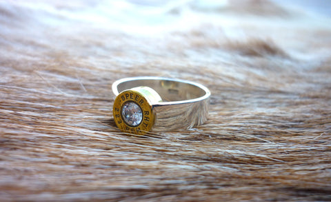 Lady Hunter Ring with Recessed Bullet medium band.