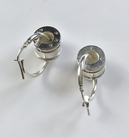 bush bling bullet bead hoops silver