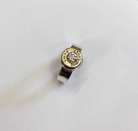 lady hunter ring - med band, small bullet clear zirconia
