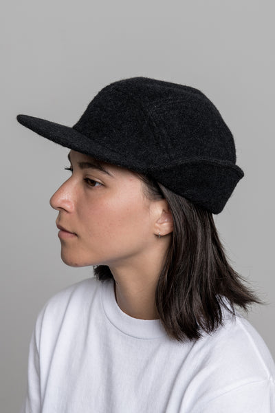 paa - Ear Flap Cap Two - Charcoal Melton