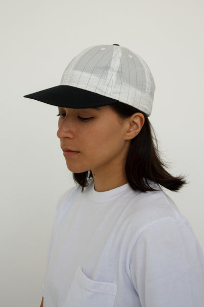 paa - Stretch Floppy Ball Cap - White / Black Pinstripe Seersucker