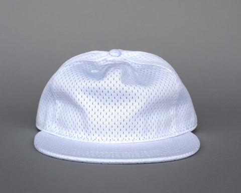 Jersey Mesh Pleat Cap - White
