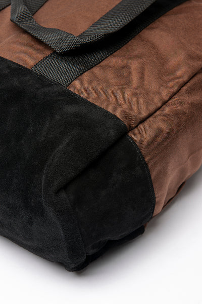 Box Tote - Brown / Black Suede