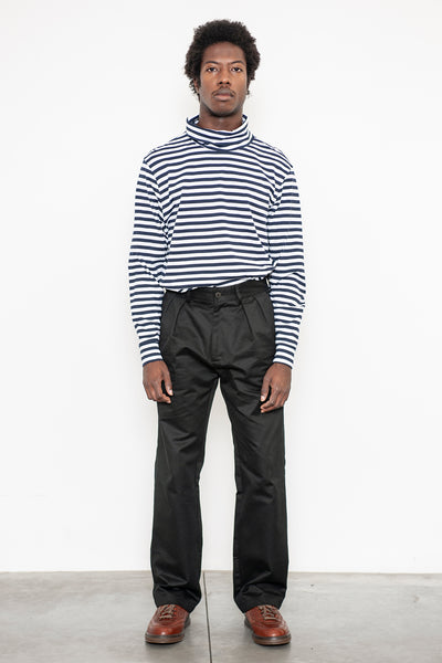 LS Turtleneck Tee - Navy Stripe