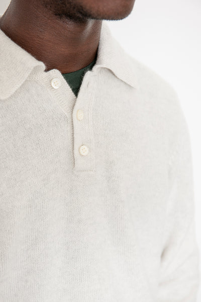 Knit Polo Sweater - Heather White