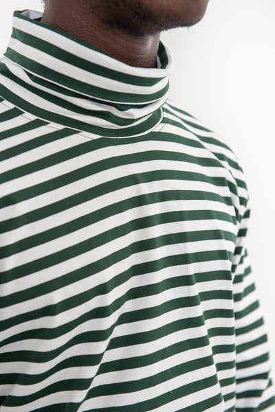 LS Turtleneck Tee - Forest Stripe