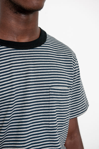 SS Striped Pocket Tee - Navy / Grey