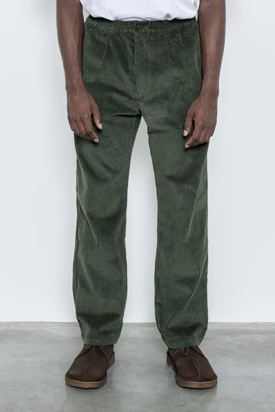 Wide Wale Trouser - Olive Corduroy