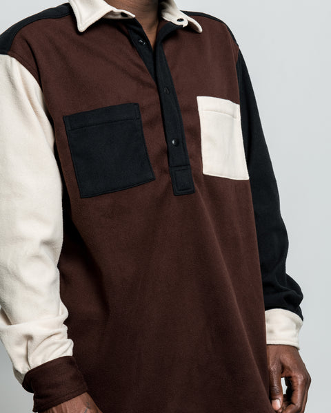 LS Popover Shirt Two - Brown Combo Polar Fleece
