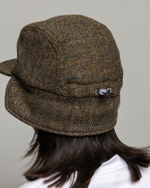 Ear Flap Cap Two - Brown Flecked Herringbone