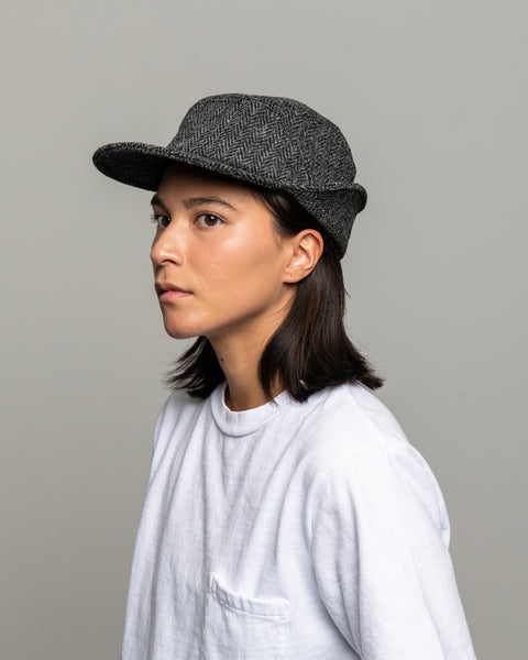 Ear Flap Cap Two - Charcoal Herringbone