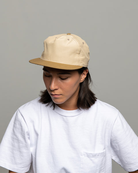 Pleat Cap - Khaki Block Grosgrain