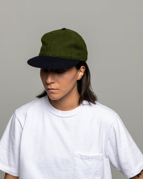 Floppy Ball Cap - Green / Navy Wool Twill