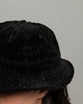 Tennis Hat - Black Uneven Wide Wale Corduroy